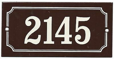 Old French house number 2145 door gate plate plaque enamel steel metal sign