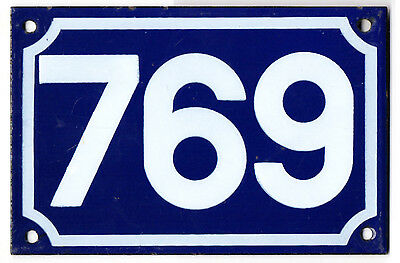 Old blue French house number 769 door gate plate plaque enamel steel metal sign