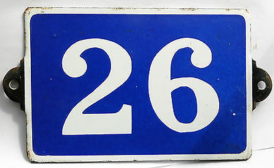 Old blue French house number door gate plate plaque enamel steel metal sign 26