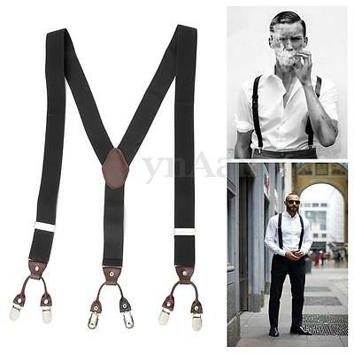 NEW 35mm Width Adjustable Men Elastic Suspender Brace 6 Buttons Clips-on Y Shape