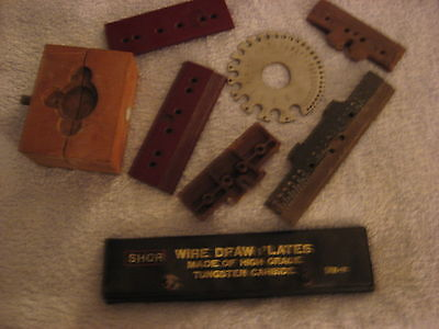 Shor Wire Draw Plate High Grade Tungsten Carbide plus 5 other Plates & Vise BLK