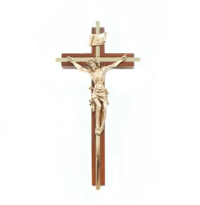 Walnut Wood Crucifix with Gold Tone Inlay Cross and Christ Corpus, 8 Inch
