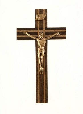 Walnut Wood with Oak Inlay Crucifix with Gold Toned Christ Corpus, 8 Inch