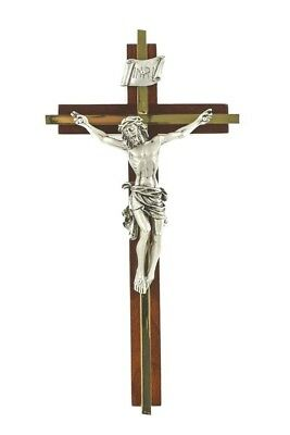 Walnut Wood Crucifix with Gold Tone Inlay Cross and Pewter Christ Corpus, 8 Inch