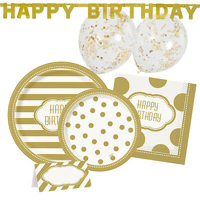 GOLDEN BIRTHDAY Party Tableware & Decorations (Napkins/Plates/Balloons)