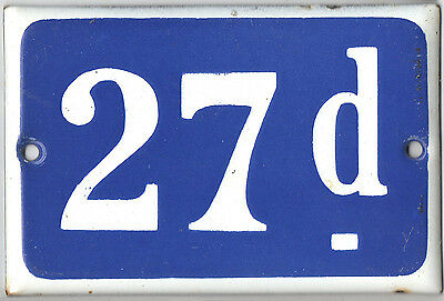 Old blue French house number 27D 27 D door gate plate plaque enamel metal sign