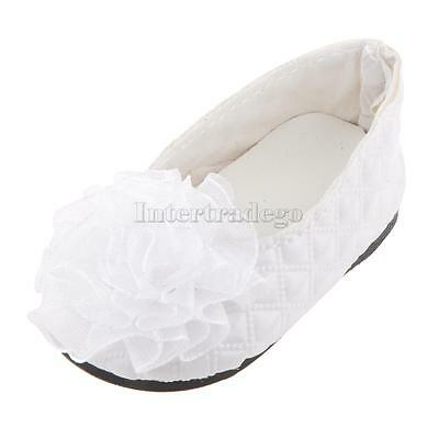 """White Lattic Shoes With Flower Decoration for 18"""" American Girl Journey Doll"""
