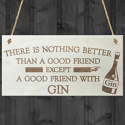 Good Friend With Gin Novelty Wooden Hanging Plaque Alcohol Gift Friendship Sign