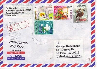 Registered Cover Indonesia to USA, Express, High Values 20,500r total postage