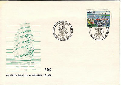 """Aland """"First Stamp"""" FDC Cover Scott 23, Facit 7, Ships 1984"""