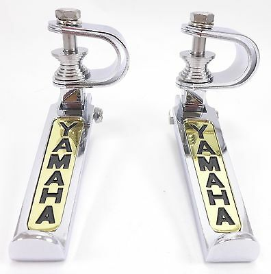 "Yamaha Folding Footrest Foot Rest Peg Chrome Gold Clamp 1"" 1.25"" Collapsible SET"