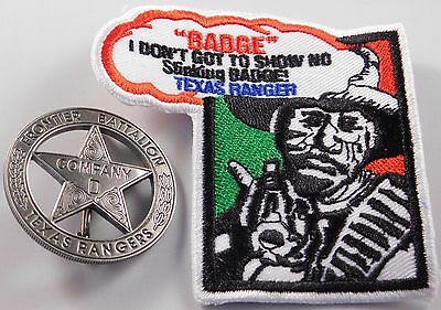 Texas Rangers Co. D Peso Back Badge  Made Brass/Steel - Silver Plated - Made USA