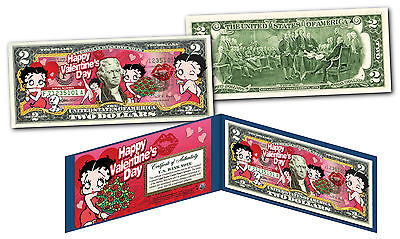BETTY BOOP * HAPPY VALENTINE'S DAY * Licensed Genuine Legal Tender U.S. $2 Bill