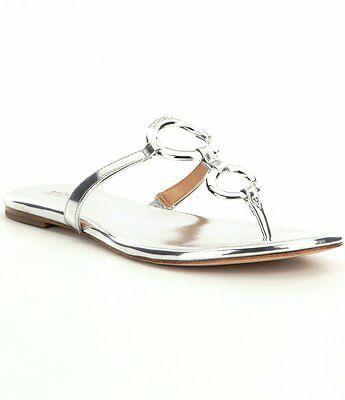 dc793efa0c20 Michael Kors Claudia Flat Silver Thong Leather Sandal Women sizes 6-10 NEW!