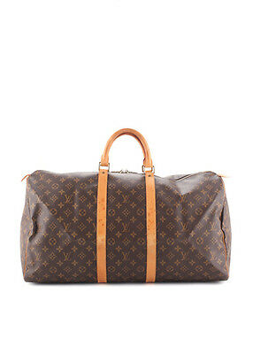 LOUIS VUITTON Brown Coated Canvas Monogram Keepall 55 Bag BP3458 MHL
