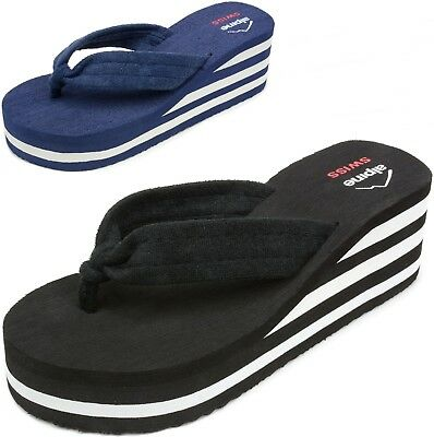 Alpine Swiss Womens Flip Flops Sandal Soft Terrycloth Thongs Platform Wedge Heel