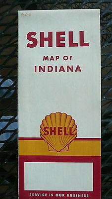 1961 Indiana  road map shell gas oil early interstate