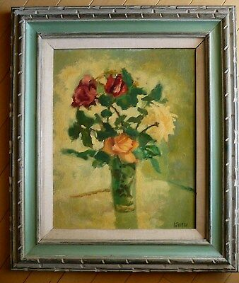 Irene Isnow, Listed Ca California Modern Modernism Vintage Oil Painting Flowers