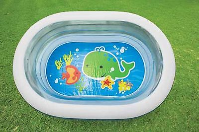 Planschbecken 3 Ring Pool 163 x 107 cm Kinderpool Oval