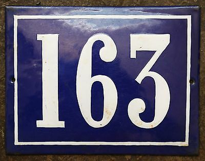 Large old French house number 163 door gate plate plaque enamel steel metal sign