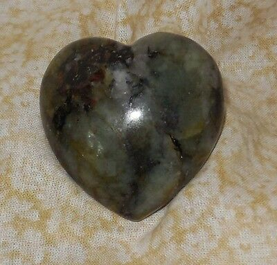 Labradorite NEW Gemstone Heart 45mm 2.4oz Carved Healing Increase intuition Y