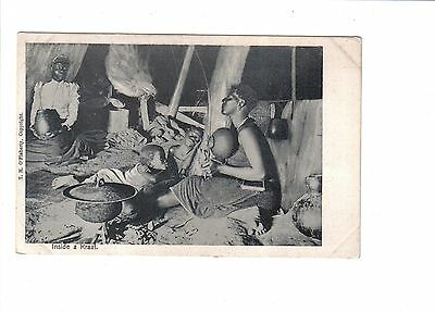 Vintage South African Ethnic Postcard.Inside a Kraal