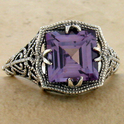 Color Changing Sim Alexandrite Antique Style 925 Sterling Silver Ring Sz 8, #906
