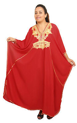 Extra Large Caftan Plus size Moroccan Kaftan Women Beach Summer Long Dress Red