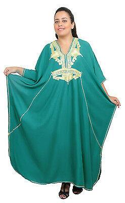 Extra Large Caftan Plus size Moroccan Kaftan Women Beach Summer Long Dress Teal