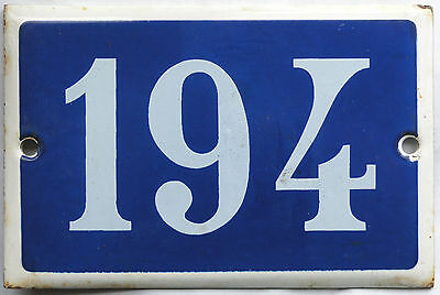 Old blue French house number 194 door gate plate plaque enamel steel metal sign