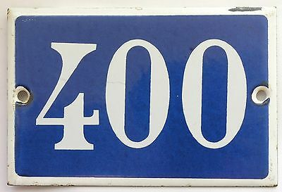 Old French house number 400 door gate plate plaque enamel steel metal sign
