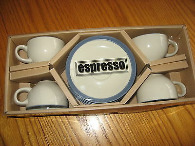 Espresso set of 4 four Cups and Saucers
