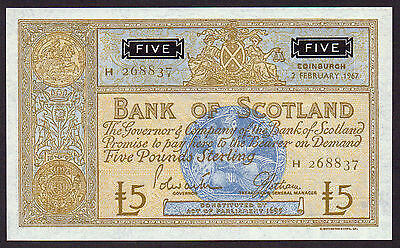 LOVELY   1967   £5 BANK OF SCOTLAND  Uncirculated
