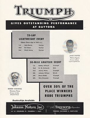 1954 Triumph Motorcycle Ad: Gives Outstanding Performance at Daytona FL