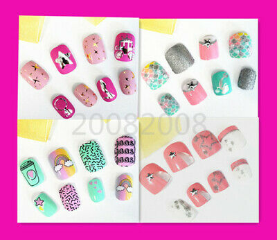 20/24 PC Full Cover Girls Acrylic False Fake Nail Tip Set With Press On Glue 3