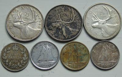 Collection 7 Canada Silver Coins, George V & VI, Elizabeth II, 25 Cents 10 Cents