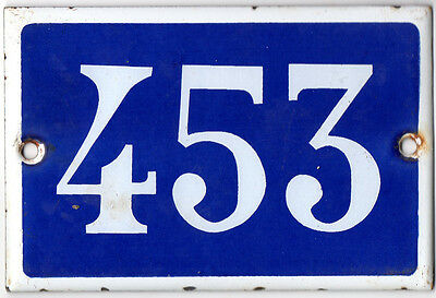 Old French house number 453 door gate plate plaque enamel steel metal sign
