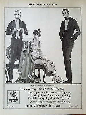 1915 Hart Schaffner & Marx Mens Tuxedo Suit Vintage Clothing Fashion Ad