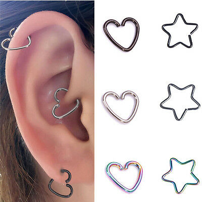 10 Stainless Steel Heart Ring Piercing Hoop Earring Helix Cartilage Tragus Daith