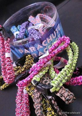 WHOLESALE LOT Box  OF 24 SURVIVAL PARACHUTE BRACELETS adult kid jewelry paracord