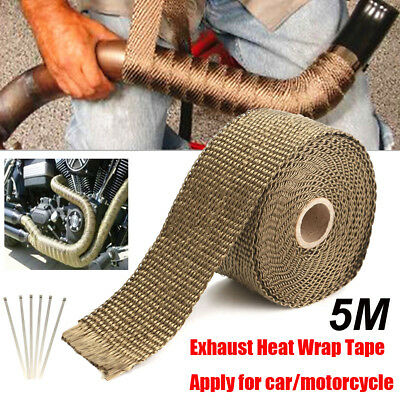 Titanium Exhaust Header 2''x16.4ft Roll Heat Wrap With Stainless Ties Kit New