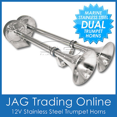 12V Stainless Steel Dual Twin Trumpet Electric Signal Horn- Marine/boat/truck/rv