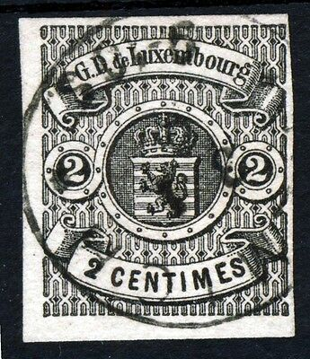 LUXEMBOURG 1860 2c. Black IMPERFORATE SG 7 VFU