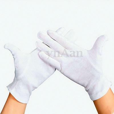 12 Pairs White Cotton Gloves Moisturising Health Work Hand Protection Safety
