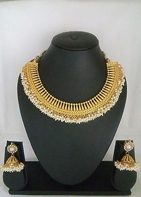 lot of 5 necklace indian fashion jewelry bollywood ethnic gold plated traditiona
