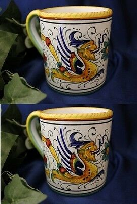 Set of 2 DERUTA RAFFAELLESCO Italian Pottery Coffee Mug Coffee Cup ITALY
