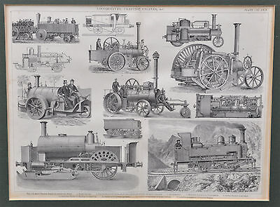 Locomotives Tractions-Engines - antiker Stahlstich 19. Jh.