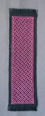 BOOKMARK - TEAL Braid on Black- Completed Cross Stitch