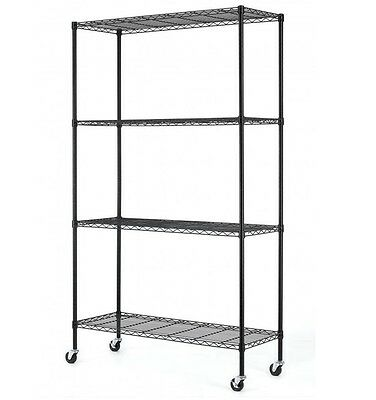 NEW 4 Tier Adjustable Steel Wire Metal Shelving Rack 48 x 18 Shelves w/ Casters