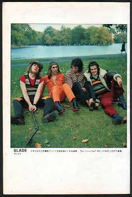 1972 Slade on grass vintage JAPAN mag photo pinup / mini poster s03m